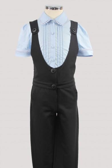 Эффектные брюки на широких лямках