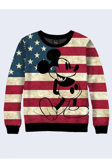 Свитшот Микки Маус на флаге США - 1 Vilno 9228